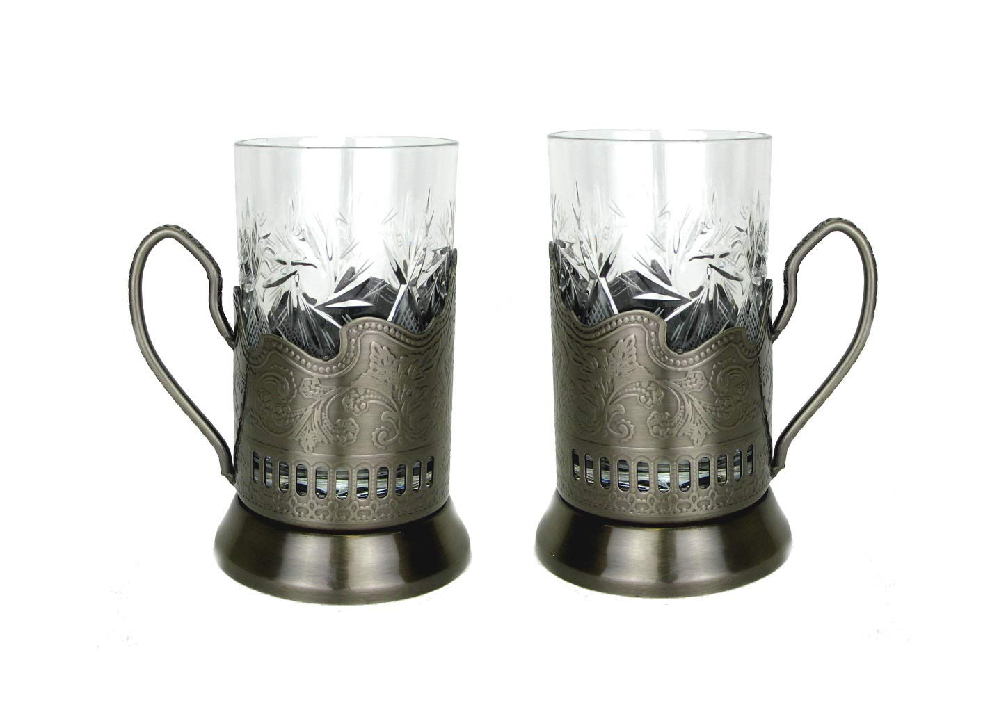 Combination of 2 Russian CUT Crystal Drinking Tea Glasses W/metal Glass Holders Podstakannik for Hot or Cold Liquids by Belarus