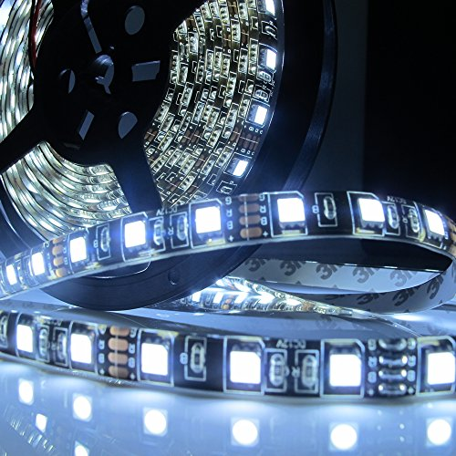 Led World Black PCB 16.4ft 5M 5050 SMD 300 Leds Flexible Strip Lights Cool White Waterproof DC12V (Led Strip Lights Black compare prices)