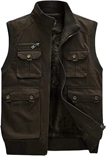 MK988 Mens Camo Print Fall Winter Cotton Lined Hoodie Down Quilted Vest Puffer Waistcoat Jacket Outerwear