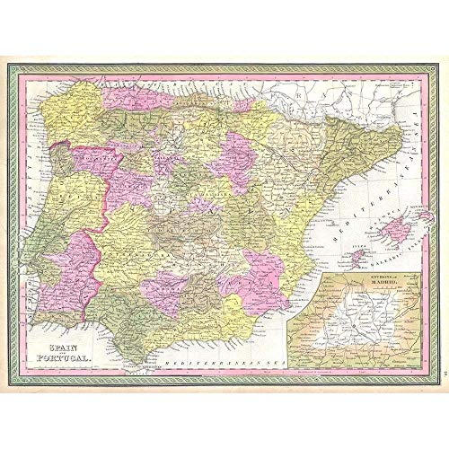 Spain Print Antique - Wee Blue Coo 1850 Mitchell Map Spain and Portugal Vintage Unframed Wall Art Print Poster Home Decor Premium