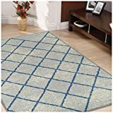 Superior Lattice Collection Area Rug, 6mm Pile Height with Jute Backing, Affordable and Contemporary Rugs, Modern Geometric Windowpane Pattern - 8' x 10' Rug, Cream