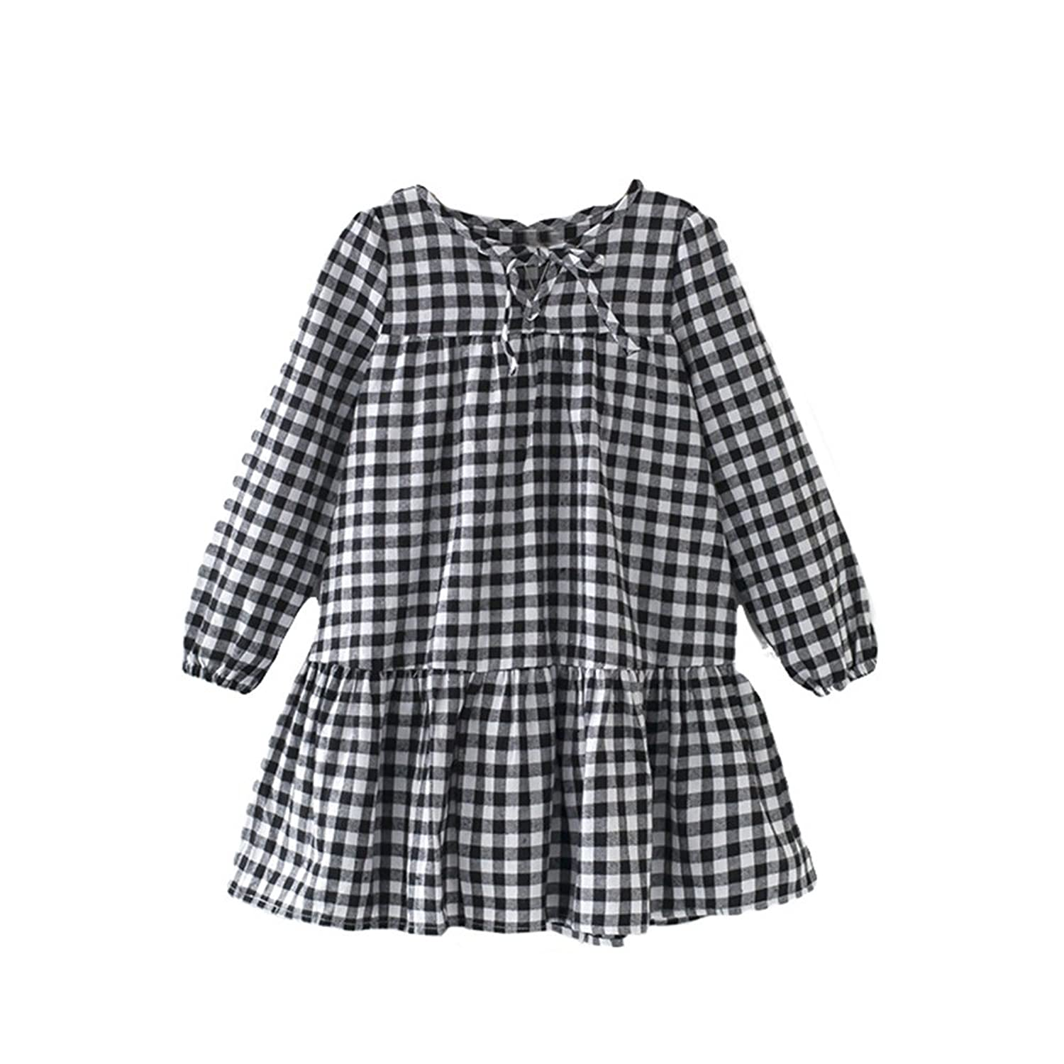 MyCU Kids Cute Clothes,New Baby Girls Dress,Thickened Plaid Skirt?Black and White lattices?8Years-14Years