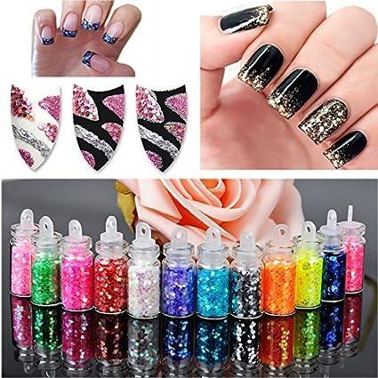 Decoración de uñas – 12 botellas/juego de decoración de uñas para mujeres arte polvo