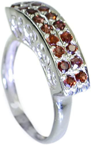 Gemsonclick Genuine Garnet Ring Band Silver Marquise Birthstone Cluster Style Jewelry Size 5,6,7,8,9,10