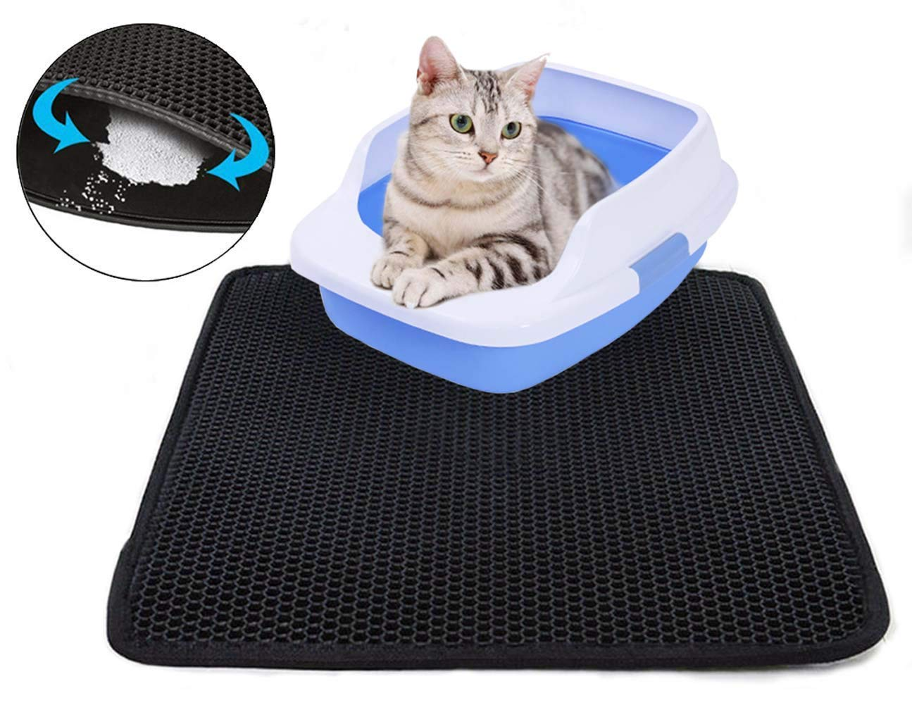 SPOMR Cat Litter Mat Litter XL Double Layer Honeycomb Cat and Dog Litter Trapper with Waterproof Base Layer/Large Litter Mat/EVA Foam Rubber - Cats Litter Mat for Litter Box(26x25 in)