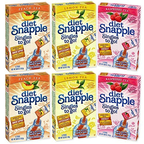 Snapple Singles To Go Diet Variety Pack -- 6 Boxes (2 Peach Tea, 2 Raspberry Tea, 2 Lemon ()