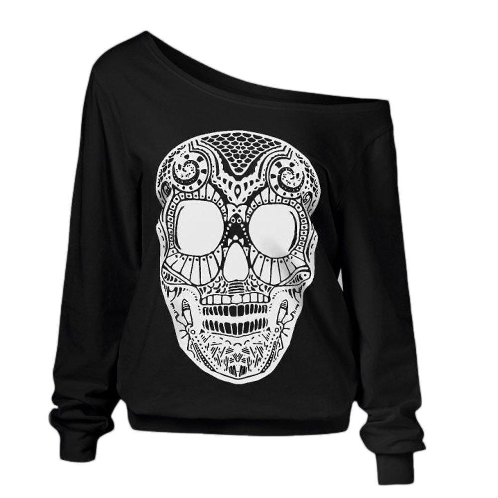 iDWZA Valentines Day Womens Fashion Skull Print Tops Plus Size Tops Blouse