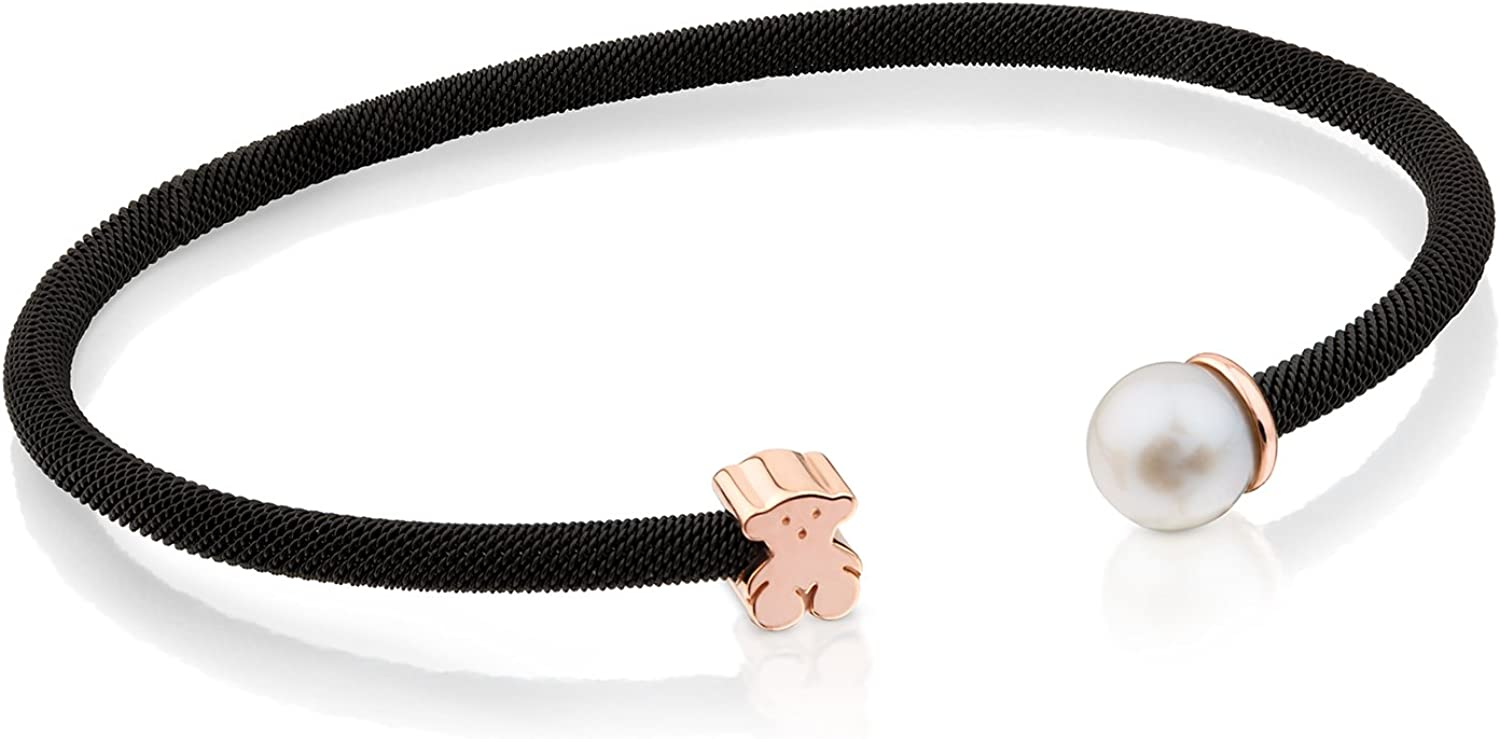 TOUS Icon Mesh Bangle in Black IP Steel and Rose Vermeil Silver with 0.65 cm Pearl. Size: 0.6 cm.