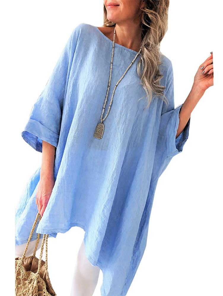 Women\'s Linen Blouse Tunic Tops - Fashion Summer Loose Fit T Shirt Blue Small