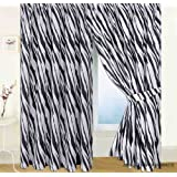 """Ready-made Zebra Skin Print Curtains 66"""" x 72"""" Includes Matching Tie-Backs"""