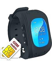 TKSTAR Los niños Reloj Inteligente GPS Rastreador niños Reloj de Pulsera teléfono SIM Anti-Lost SOS Pulsera Parent Control por iPhone iOS y Android Smartphone Q50 Color Negro