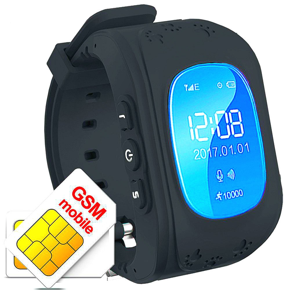 TKSTAR GPS Tracker Smart Watch for Kids Senior,Phone Watch,with Dual Way Call, Real Time Locating SOS Anti-Lost Remote Monitor Watches for Samsung-Android-iPhone Q50 (Without SIM Card) (Black)