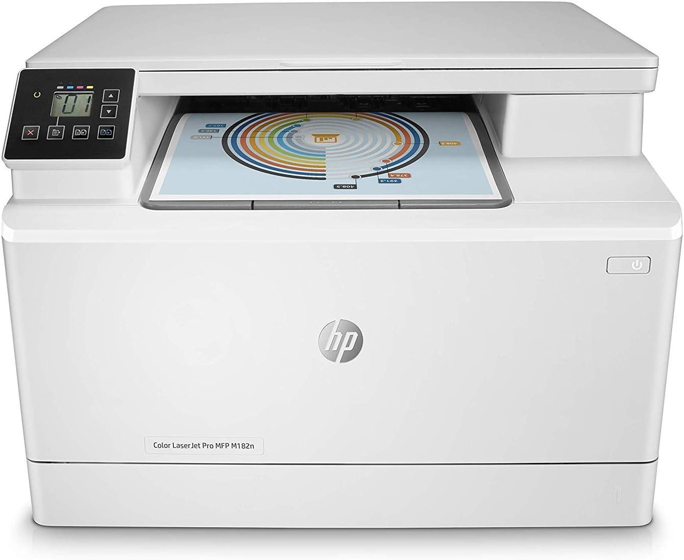 HP Color Laserjet Pro MFP M182N - Impresora multifunción láser (Imprime, escanea, Copia, 8.5 x 14 Pulgadas, USB), Color Blanco, Pequeño