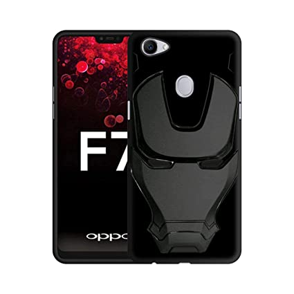 new arrivals 54670 f2732 Case Creation 3D Feel Marvel Avengers Logo Mask Soft Rugged Grip Silicone  Iron Man Rubber Matte Back Cover for Oppo F7 - Black