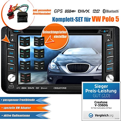 2DIN Autoradio CREATONE V-336DG für VW Polo 5 (6R) (2009-2014) mit GPS Navigation (Europa), Bluetooth, Touchscreen, DVD-Player und USB/SD-Funktion