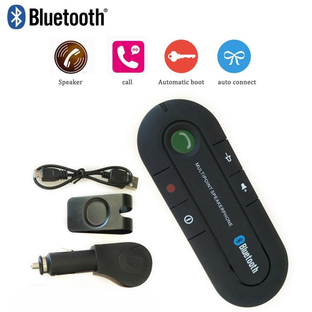 SHOH Kit De Manos Libres para El Autom/óvil Bluetooth Audio Cancelaci/ón De Ruido Inal/ámbrico Altavoz Autom/ático Adaptador De Tel/éfono para El Tel/éfono M/óvil Clip En El Parasol
