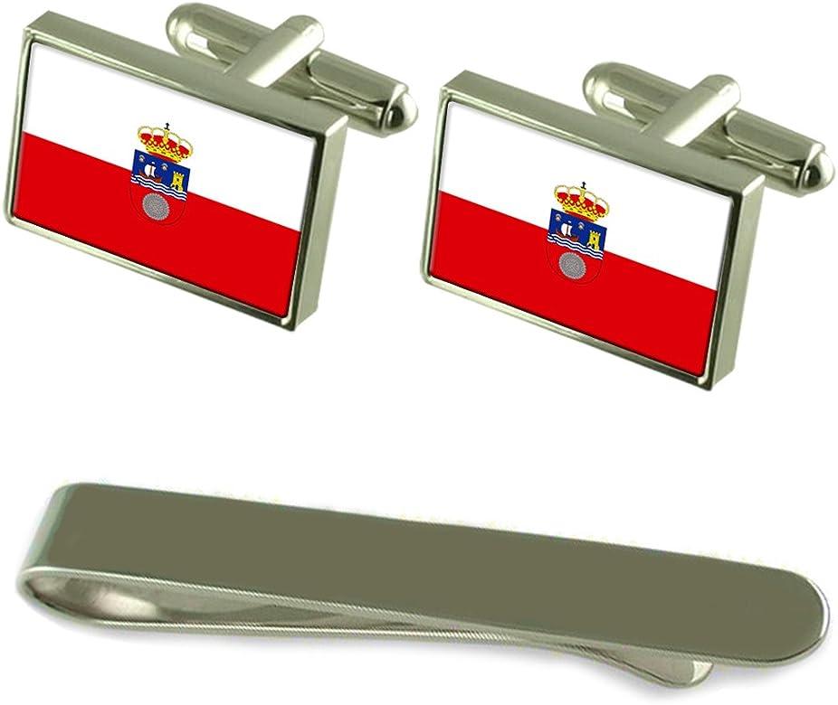 Select Gifts Cantabria Bandera Gemelos Plata Clip Grabado Set de ...