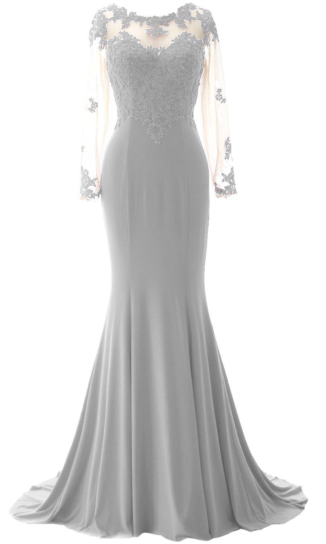 MACloth Elegant Mermaid Long Sleeve Prom Dress Jersey Wedding Party Formal Gown (20w, Silver)