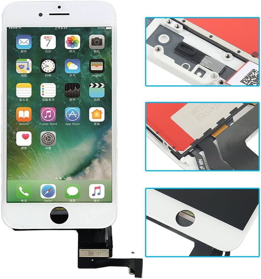 White Replacement LCD Screen Compatible with iPhone 7 Plus 5.5 Inch Display Digitizer Assembly Full Complete Front Glass with Repair Tools
