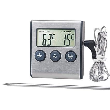 RRNGAO - Termómetro Digital LCD para Carne con sonda para termómetro de Barbacoa de Alimentos
