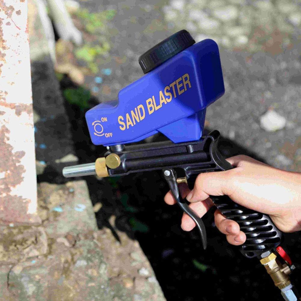 noir IsEasy Alimentation Gravit/é Pistolet de Sablage Portable Pistolet de Projection de Sable avec Support dAlimentation par gravit/é