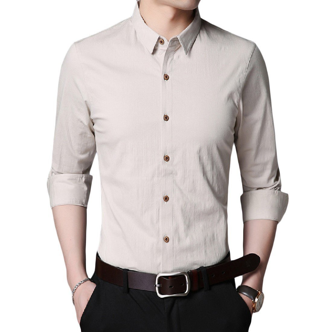YUNY Mens Turn Down Collar Business Long Sleeve Button Down Shirt Khaki L