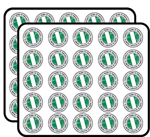 Made in Nigeria Grunge Flag Stamp Art Decor Sticker for Scrapbooking, Calendars, Arts, Kids DIY Crafts, Album, Bullet Journals 50 Pack