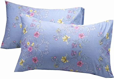 Amazon Com Wbycotbed 2 Pack Blue Floral Pillowcase For Men 100 Cotton Breathable Ultra Soft Queen Size Pillow Covers 20 X 30 Home Kitchen