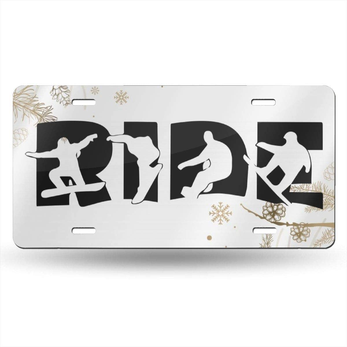 Customized Decorative Front Car Tag Sign for US Vehicles Ride Snowboard Customizable Novelty License Plates Aluminum