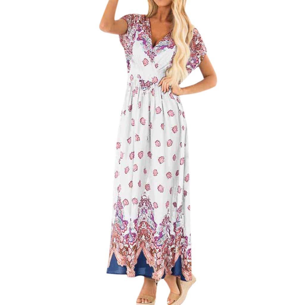 Nmch Women Summer V Neck Print Beach Long Dresses Bohemian Criss-Cross V-Neck Party Dresses Casual Maxi Dress(White,XXL)