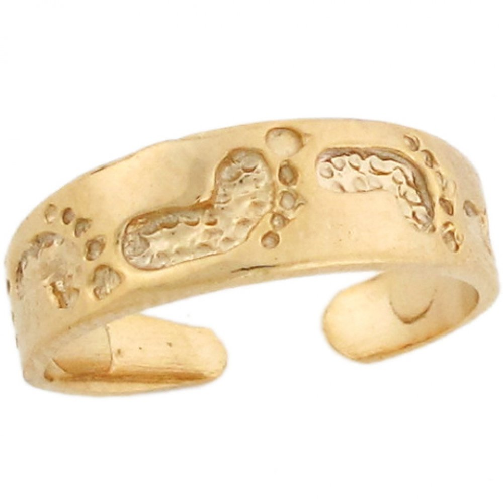 14k Real Gold Footprint in The Sand Band Designer Womens Toe Ring