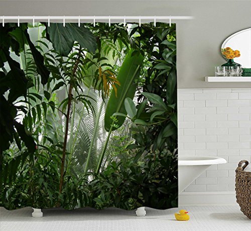 Manerly Watercolor Tropical Plants Decor Jungle Green Banana Leaves Shower Curtain, Polyester Fabric Bathroom Curtain Set with Hooks,72X72 - Jungle Curtain