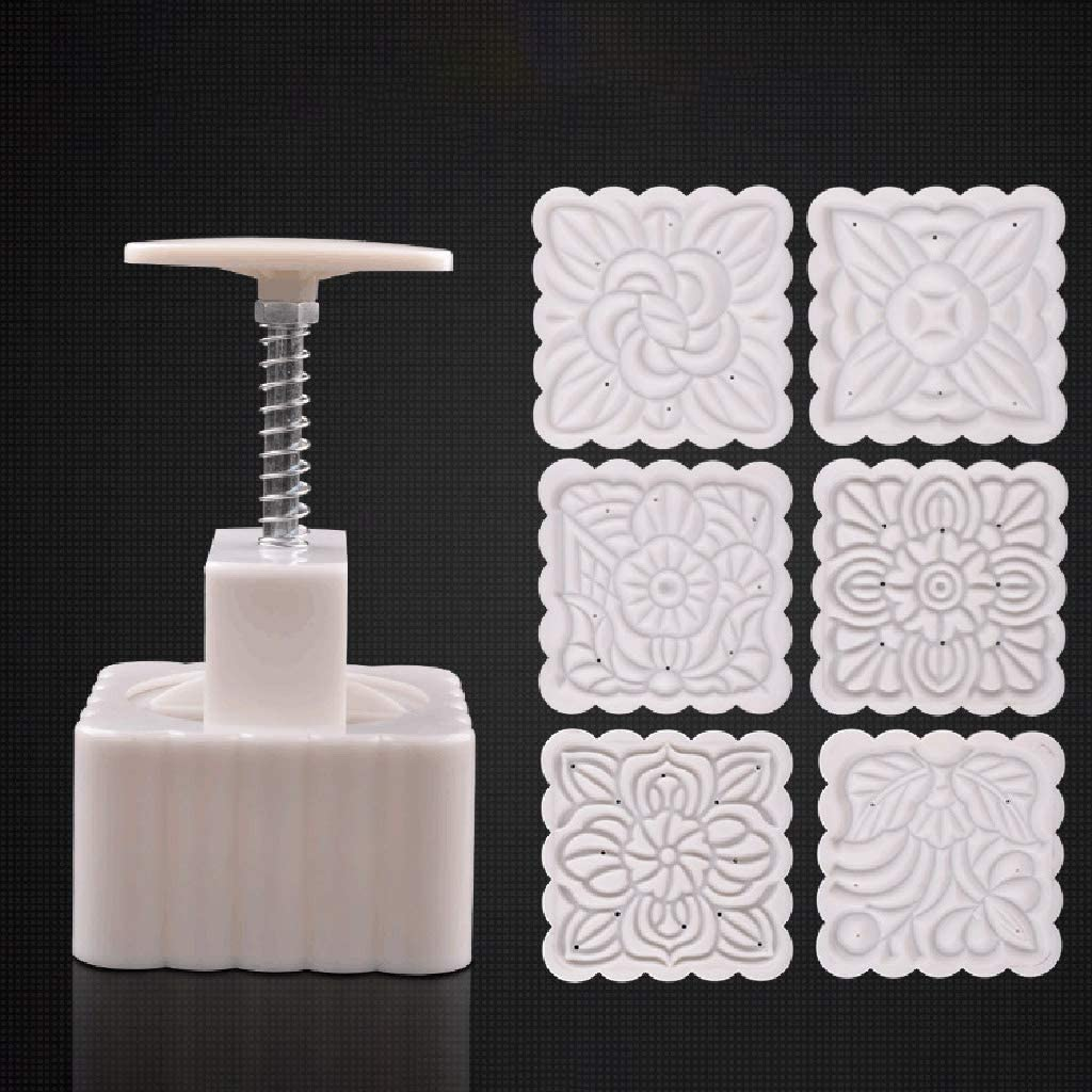 chefensty 250g Mooncake Mold with 6pcs Square Flower Stamps Hand Press Moon Cake Pastry