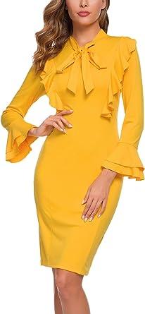 ANGGREK Negocio Vestido de Mujer Vintage Lápiz Corbata Fiesta ...