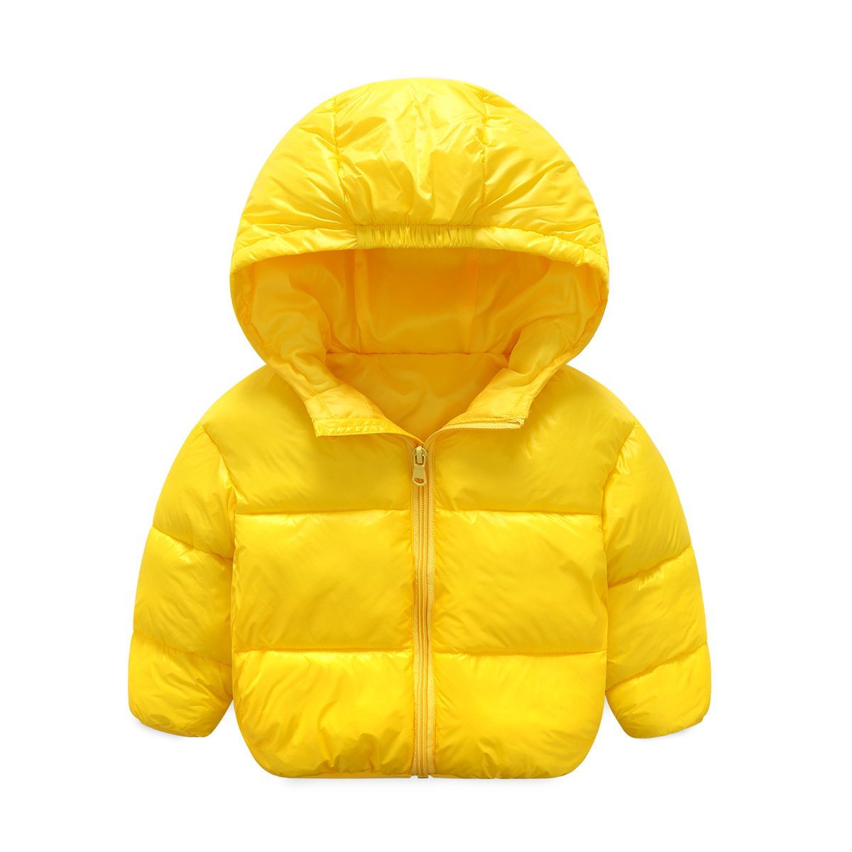Baby Girls Boys Winter Lightweight Down Coat Hoodies Kids Candy Color Puffer Warm Coat Outwear Jacket (5-6 Years old, Yellow)