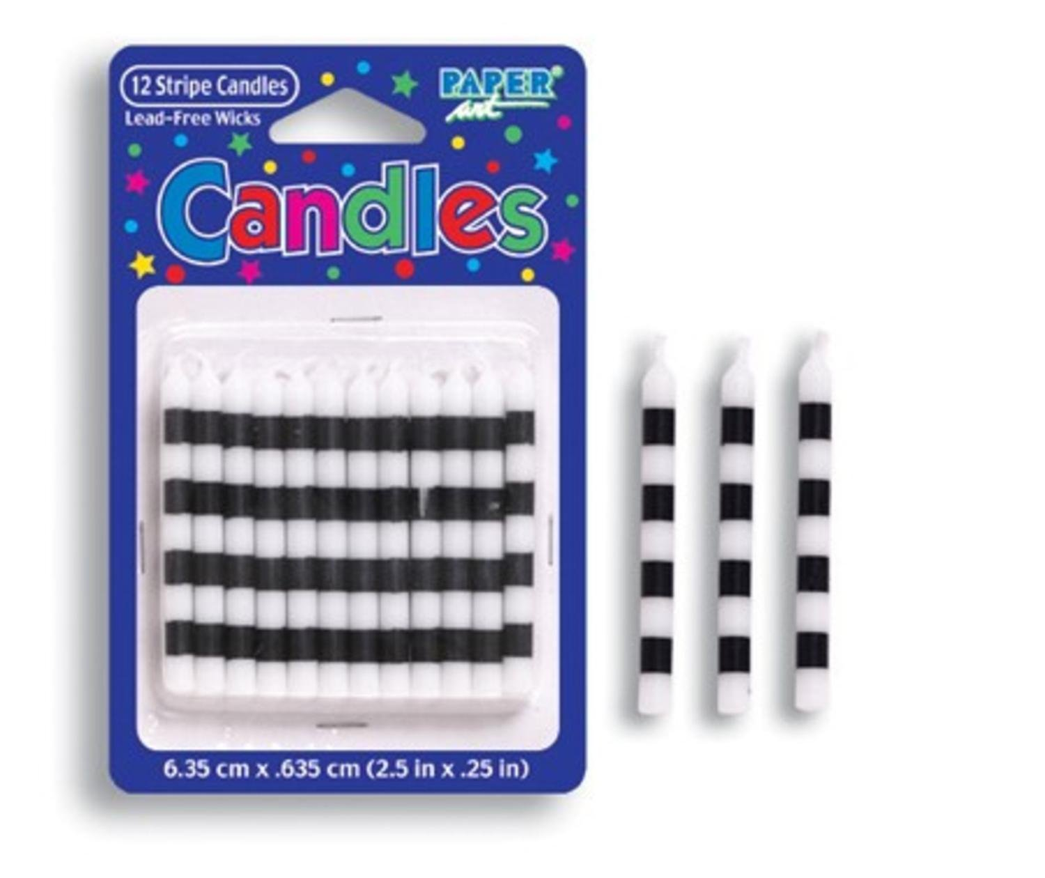 Club Pack of 144 Black and White Check Striped Birthday Party Candles 2.25''