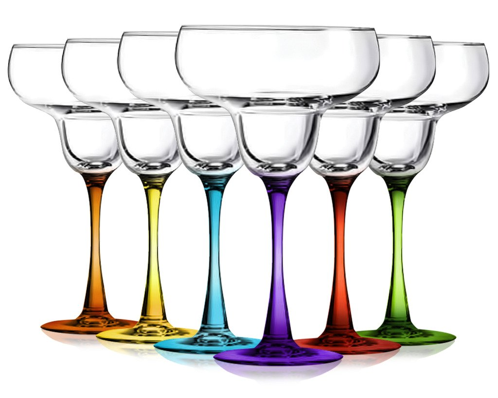 Margarita Glasses Party Set of 6 with Colored Accent- by TableTop King