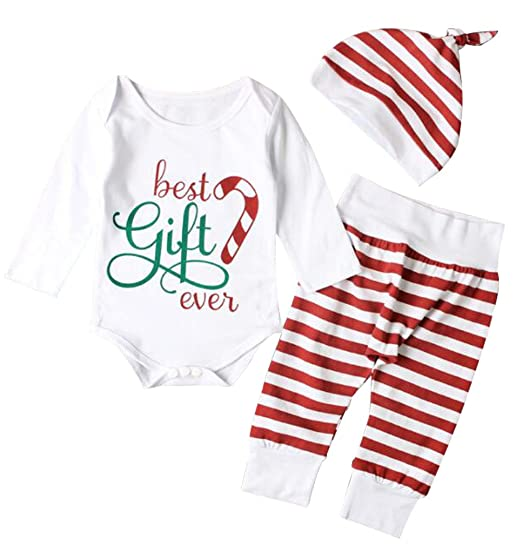 0bc5ddfbb903 Baby Girls BEST GIFT EVER Christmas Bodysuits Striped Pants Hat 3pcs XMAS  Outfits size 0-