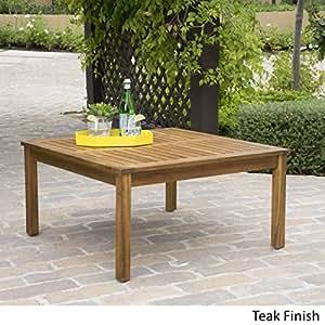 Capri Outdoor Teak Fnished Acacia Wood Coffee Table