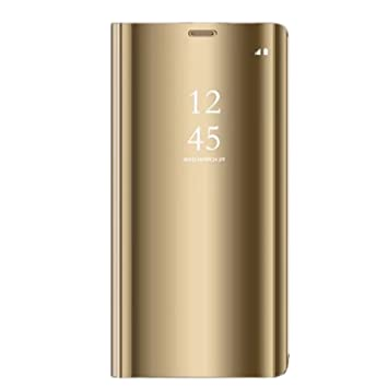 Carcasa Samsung Galaxy S9/S9 Plus Modelo Inteligente Fecha Caso Book PC Hard Teléfono Móvil Shell Cover Soporte Plegable (S9 Plus, Dorado)