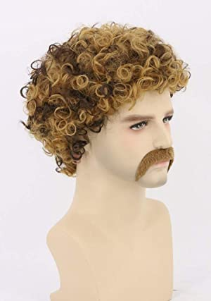 Auburn Topcosplay Unisex Mens or Womens Disco Hippie Wig /& Moustache Short Afro Shaggy Curly Wig Orange Brown