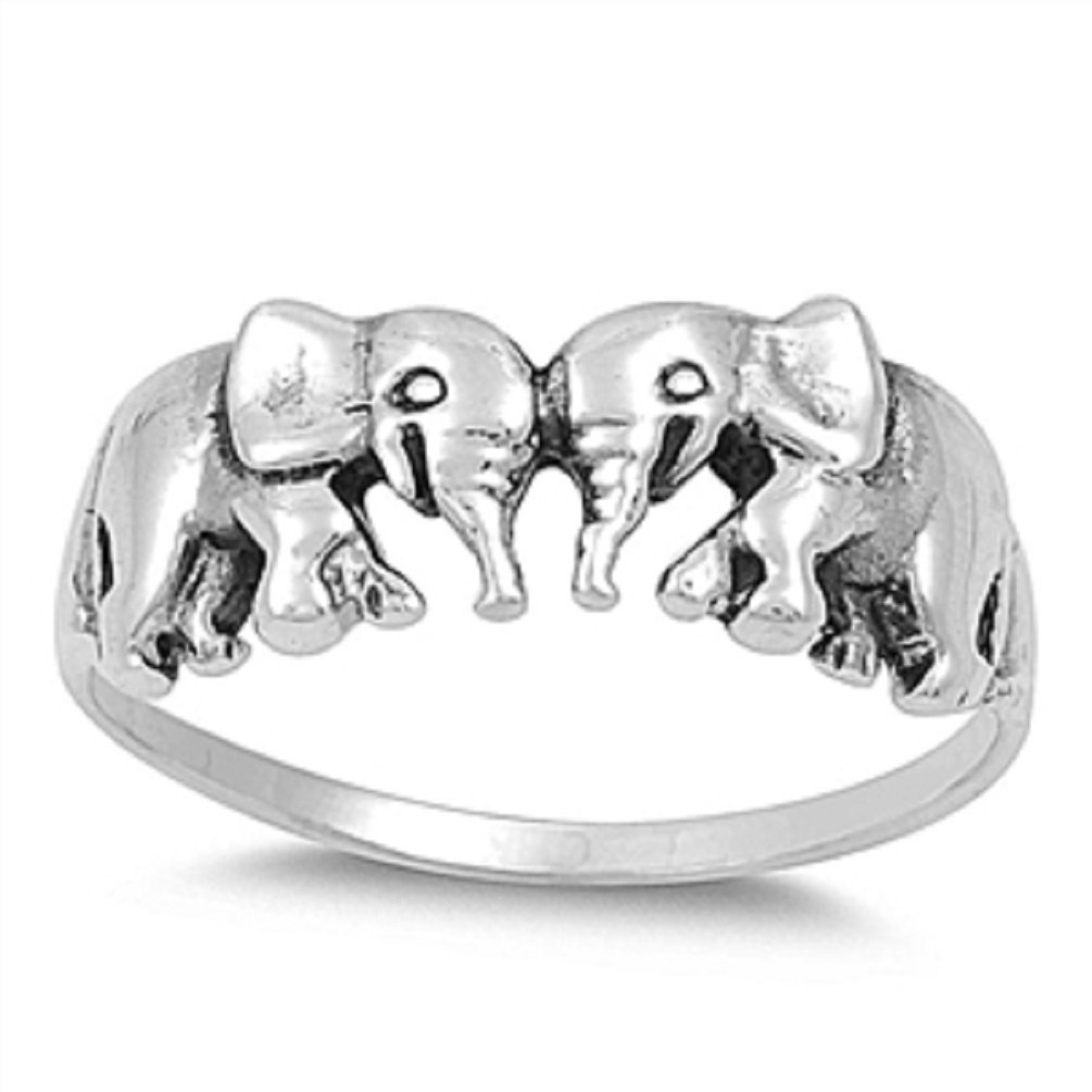 Elephant RIng .925 Sterling Silver Good Luck Love Cute Band Sizes 3-13 (12)