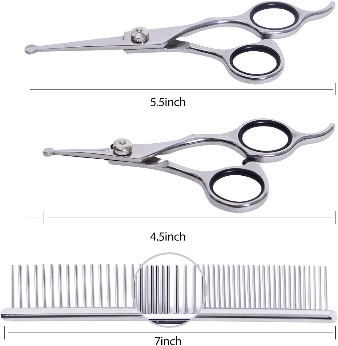 Dog Cat Shears for Full Body Straight Curved Shears HAVARGO Dog Grooming Scissors Comb Pet Grooming Trimmer Kit Heavy Duty Stainless Steel Thinning