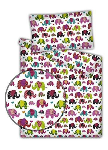 Kinderbettwäsche Elefanten 2-tlg. 100% Baumwolle 40x60 + 100x135 cm mit Reißverschluss (beere)