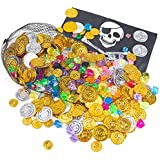 FuturePlusX 500PCS Pirate Coins Gems, Gold Coins Jewelery Playset Treasure for Party Favor, 250 Coins and 250 Gems