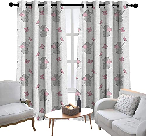 Lewis Coleridge Decor Curtains by Elephant Nursery,Baby Elephants Playing with Butterflies Design, Grey Pale Pink White,Wide Blackout Curtains, Keep Warm Draperies, Set of 2 54 x63
