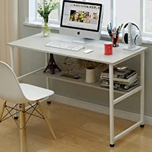 TOPYL 39inch Computer Desk with Bookshelf,Modern Sturdy Writing Desk - Family Workstation with 2 Tier Shelves,Simple Style Desk for Home Office