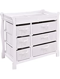 Costzon Baby Changing Table Infant Diaper Nursery Station W/6 Basket  Storage Drawers (White