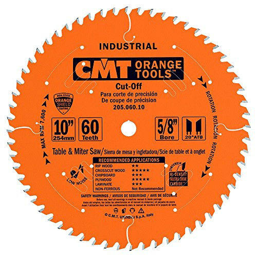 CMT 205.060.10 Industrial Cut-Off ATB Saw Blade, 10-Inch x 60 Teeth 20° ATB Grind with 5/8-Inch Bore, PTFE Coating