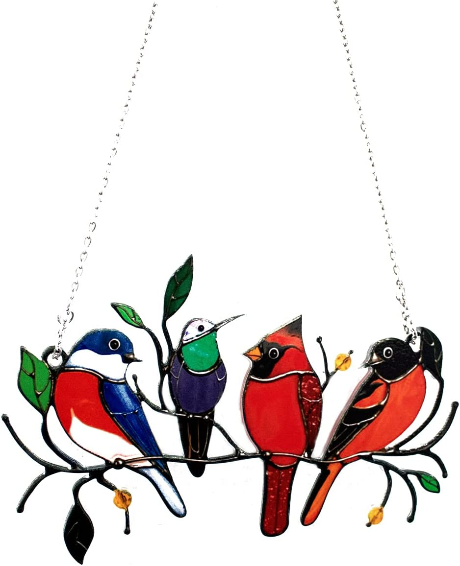 Dropurfon Multicolor Birds on a Wire High Stained Acrylic Window Hangings Suncatcher Panel, Bird Series Sculptures Art Ornaments Pendant Home Decoration Creative Gifts for Patio Yard Bird Lover(4)